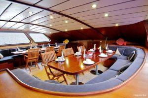 Seychelles 42 metre Ketch Sailing Yacht Lounge Dinner Area