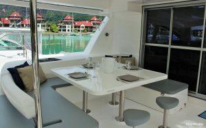 Seychelles 51 ft Power Catamaran Cockpit Lunch Area