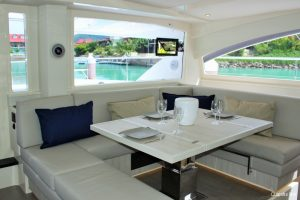 Seychelles 51 ft Power Catamaran Saloon Area
