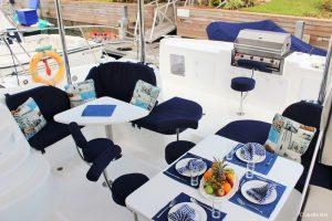 Seychelles 53 ft Luxury Sailing Catamaran Cockpit Area
