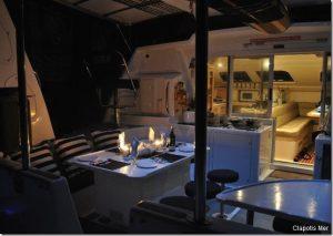 Seychelles 53 ft Luxury Sailing Catamaran Cockpit Dining Area