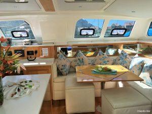 Seychelles 53 ft Luxury Sailing Catamaran Saloon Area