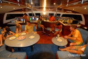 Seychelles 56 ft sailing catamaran saloon