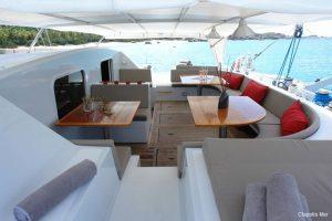 Seychelles 85 ft Luxury Sailing Catamaran Cockpit Area