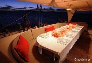 Seychelles 85 ft Luxury Sailing Catamaran Outdoor Dining Area