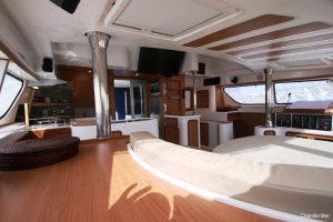 Seychelles Africat 45 ft Power Catamaran Saloon Area