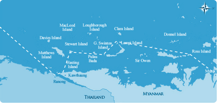 Mergui Archipelago sailing cruise itinerary