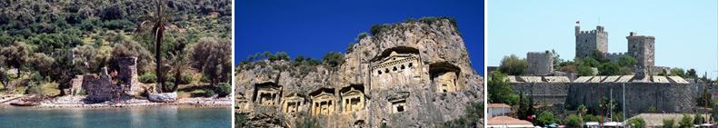 Historical vestige · Dalyan Caunos King Tombs · Bodrum Castle