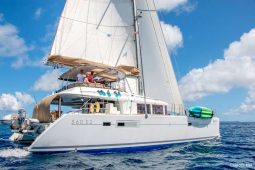 Caribbean Bahamas Lagoon 56 ft Sailing Catamaran under way