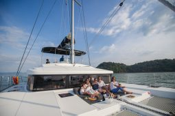 Phuket Lagoon 52 Sailing Catamaran foredeck watching