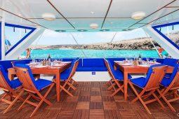 Galapagos Alumarine 23 metre sailing catamaran aftdeck dining area