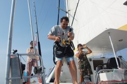 Mergui&Thailand 48 ft Custom Sailing Catamaran fishing game from cockpit