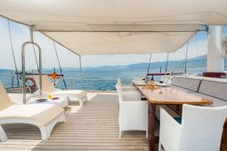 Croatia 32 metre three-masted motor sailing gulet main deck area