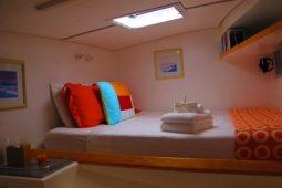 Caribbean BVI SVI Simonis 58 ft Sailing Catamaran aft queen cabin