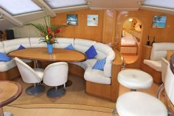 Caribbean Grenadines Privilege 65 ft Sailing Catamaran saloon seating area