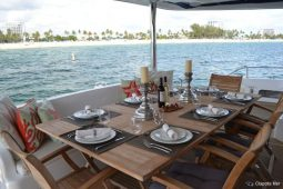 Caribbean Saint Martin Leopard 58 ft Sailing Catamaran aft deck dining area