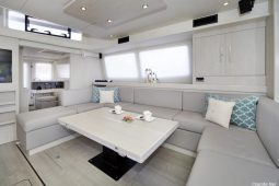 Caribbean Saint Martin Leopard 58 ft Sailing Catamaran saloon
