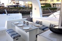 Mozambique Lesal 53 ft Power Catamaran cockpit seating area